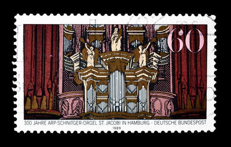 philately: Cancelled postage stamp printed by Germany, that shows Arp Schniter organ, circa 1989. Editorial