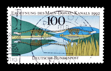 philately: Cancelled postage stamp printed by Germany, that shows Main Donau canal, circa 1992. Editorial