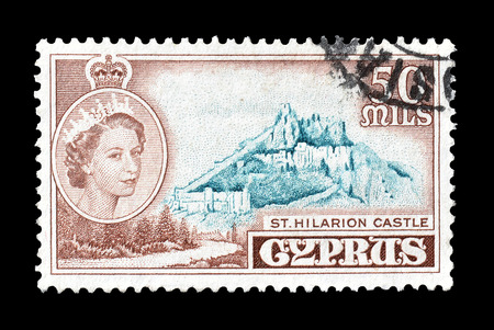 hilarion: Cancelled postage stamp printed by Cyprus, that shows St Hilarion castle, circa 1955. Editorial