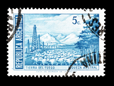 tierra: Cancelled postage stamp printed by Argentina, that shows Tierra del Fuego, circa 1960.