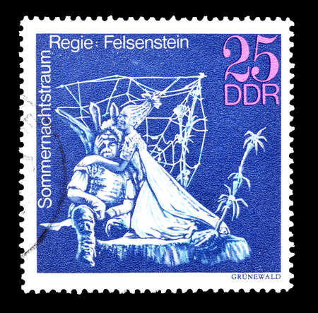 midsummer: Cancelled postage stamp printed by German Democratic Republic, that shows Midsummer Marriage staged by Walter Felsenstein, circa 1973.