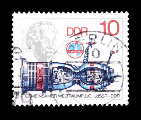 soyuz: Cancelled postage stamp printed by German Democratic Republic, that shows Soyuz and Albert Einstein, circa 1978.