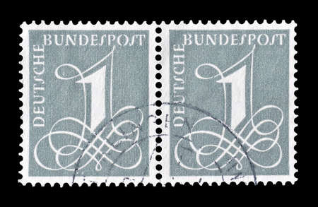 numeral: Cancelled postage stamp printed by Germany, that shows numeral, circa 1955. Editorial