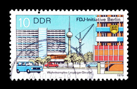 democratic: Cancelled postage stamp printed by German Democratic Republic, that shows Residential Complex Leipziger Strasse, circa 1979.