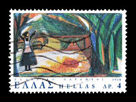 twelve month old: Cancelled postage stamp printed by Greece, that shows  The Twelve Months Fairy Tale, circa 1978. Editorial