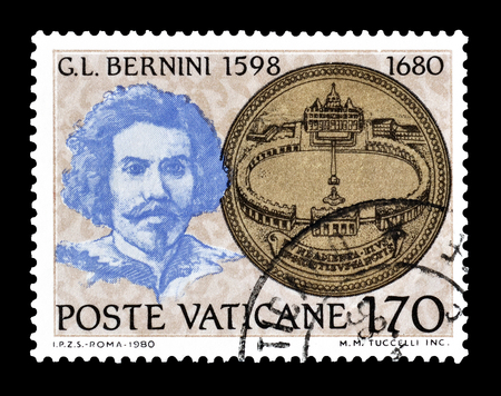 bernini: Cancelled postage stamp printed by Vatican, that shows Project of St. Peters Square and portrait of Bernini, circa 1980.