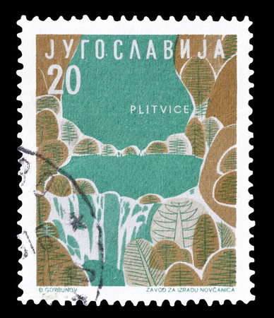 yugoslavia: Cancelled postage stamp printed by Yugoslavia, that shows Plitvice, circa 1959.