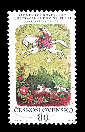 philately: Cancelled postage stamp printed by Czechoslovakia, that shows Slovak Fairy Tale, The Ruling Knight, circa 1968.