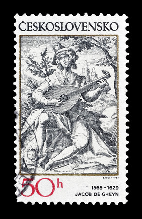philately: Cancelled postage stamp printed by Czechoslovakia, that shows Jacob de Gheyn, circa 1982.