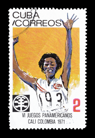 philately: Cancelled postage stamp printed by Cuba, that shows Athletics, circa 1971.