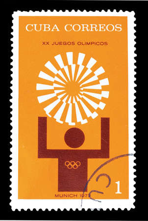 olympic symbol: Cancelled postage stamp printed by Cuba, that shows Symbol of Olympic games in Munich, circa 1972.
