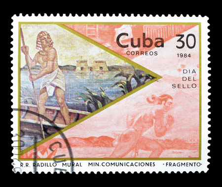 boatman: Cancelled postage stamp printed by Cuba, that shows Egyptian boatman, circa 1984. Editorial