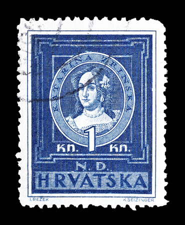 catherine: Cancelled postage stamp printed by Croatia, that shows portrait of Catherine Zrinski, circa 1943. Editorial