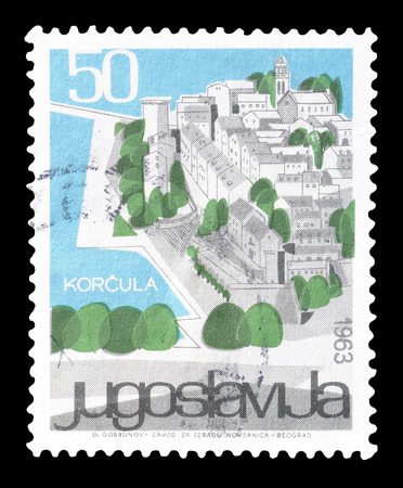 yugoslavia: Cancelled postage stamp printed by Yugoslavia, that shows Korcula, circa 1963.