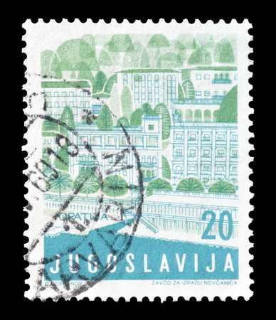 philately: Cancelled postage stamp printed by Yugoslavia, that shows Opatija, circa 1959.