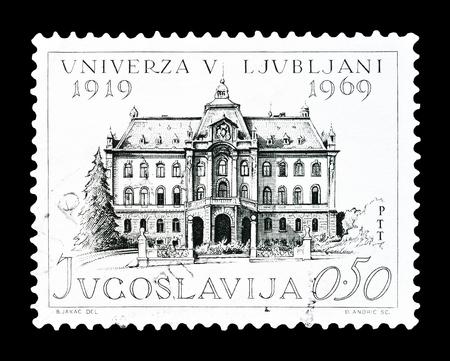 yugoslavia: Cancelled postage stamp printed by Yugoslavia, that shows University of Ljubljana, circa 1969.