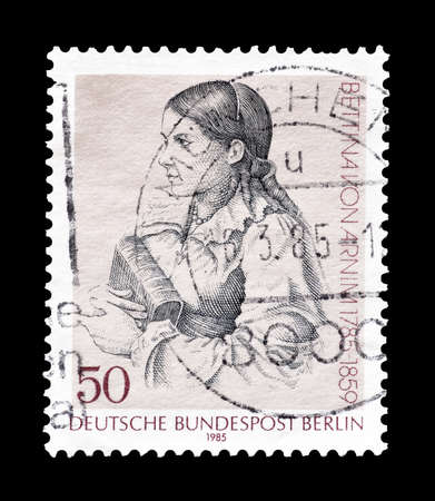elisabeth: Cancelled postage stamp printed by Berlin, that shows Elisabeth Bettina von Arnim, circa 1985.