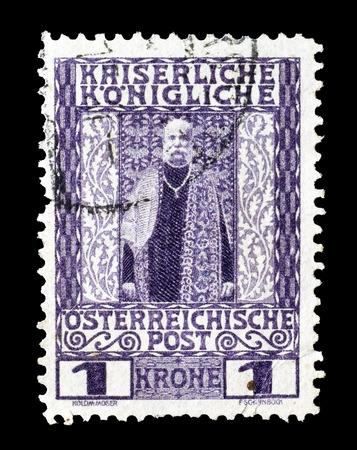 josef: Cancelled postage stamp printed by Austria, that shows Emperor Franz Josef, circa 1908.