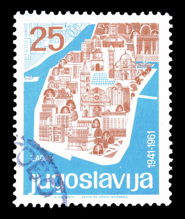 yugoslavia: Cancelled postage stamp printed by Yugoslavia, that shows Zadar, circa 1961. Editorial