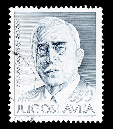 yugoslavia: Cancelled postage stamp printed by Yugoslavia, that shows Josip Smodlaka, politician and journalist, circa 1969.