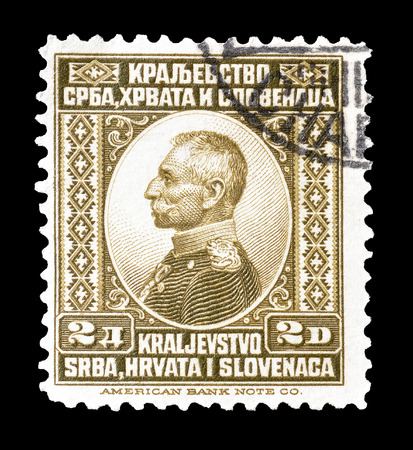 yugoslavia: Cancelled postage stamp printed by Yugoslavia, that shows portrait of king Peter I, circa 1921. Editorial