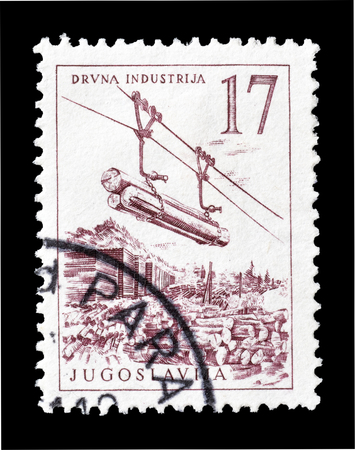 lumber industry: Cancelled postage stamp printed by Yugoslavia, that shows Lumber industry, circa 1958.