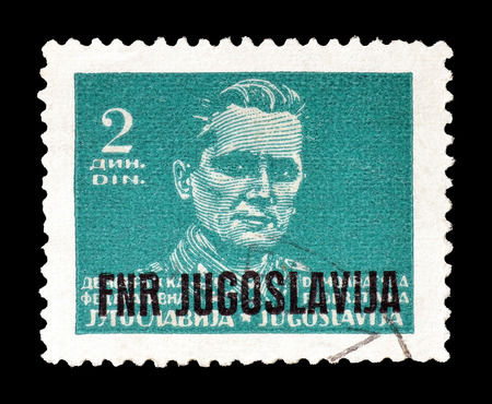 yugoslavia: Cancelled postage stamp printed by Yugoslavia, that shows portrait of president Tito, circa 1949.