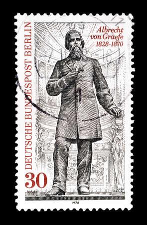 albrecht: Cancelled postage stamp printed by Berlin, that shows Albrecht von Graefe, circa 1978. Editorial