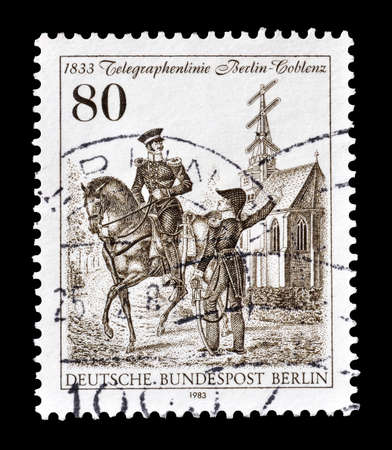 inspectors: Cancelled postage stamp printed by Berlin, that shows  Royal Prussian telegraph inspectors, circa 1983. Editorial