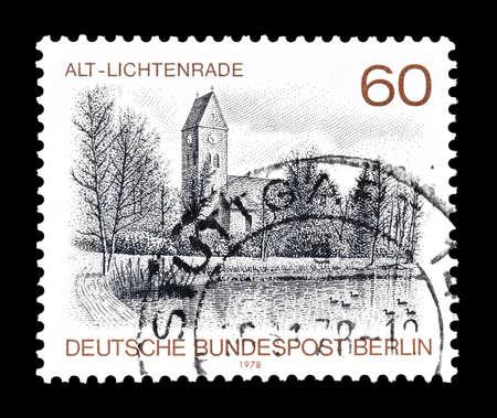 alt: Cancelled postage stamp printed by Berlin, that shows  Village Church Alt Lichtenrade, circa 1978.