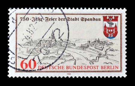 spandau: Cancelled postage stamp printed by Berlin, that shows Spandau, circa 1982.