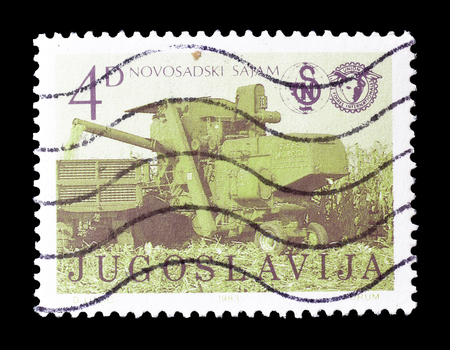 promotes: Cancelled postage stamp printed by Yugoslavia, that promotes International Agricultural Fair in Novi Sad, circa 1983. Editorial