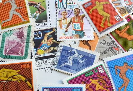 Postage stamps printed by Yugoslavia, Poland, Russia,Greece, Cuba, that show athletics, circa 1950-2000.