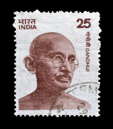 mahatma: Postage stamp printed by India, that shows portrait of Mahatma Gandhi, circa 1976. Editorial