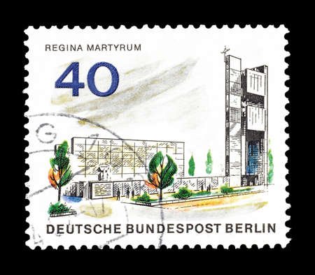 regina: Cancelled postage stamp printed by Berlin, that shows Memorial Regina Martyrum, circa 1965. Editorial