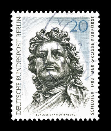 elector: Cancelled postage stamp printed by Berlin, that shows  statue of The Great Elector Head , circa 1967.