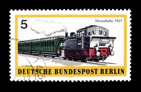 uptown: Cancelled postage stamp printed by Berlin, that shows uptown railroad, circa 1971.