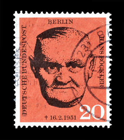 hans: Cancelled postage stamp printed by Berlin, that shows portrait of Hans Bockler, circa 1961. Editorial