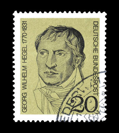 philosopher: Cancelled postage stamp printed by Germany, that shows portrait of philosopher Georg Wilhelm Hegel, circa 1970.
