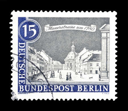 wallstreet: Cancelled postage stamp printed by Berlin, that shows Wallstreet, circa 1962.