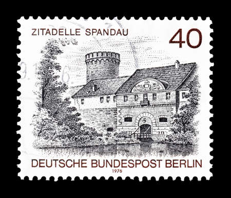 spandau: Cancelled postage stamp printed by Berlin, that shows Spandau citadel, circa 1976. Editorial