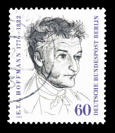 theodor: Cancelled postage stamp printed by Berlin, that shows portrait of Ernst Theodor Wilhelm Hoffmann, circa 1972.
