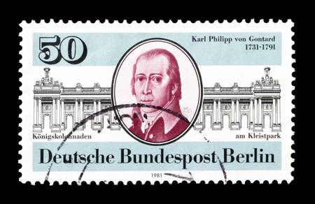 karl: Cancelled postage stamp printed by Berlin, that shows   Karl Philipp von GontardI, circa 1981.