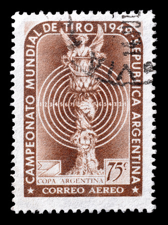 promotes: Cancelled postage stamp printed by Argentina, that promotes World Shooting Championship, circa 1949.