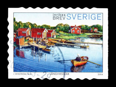 philately: Cancelled postage stamp printed by Sweden, that shows The archipelago of Stockholm, circa 2004. Editorial