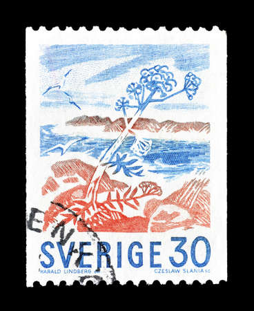isles: Cancelled postage stamp printed by Sweden, that shows Rocky Isles in Bloom by Harald Lindberg, circa 1967.