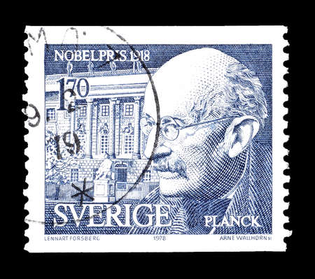 planck: Cancelled postage stamp printed by Sweden, that shows Max Planck, circa 1978.