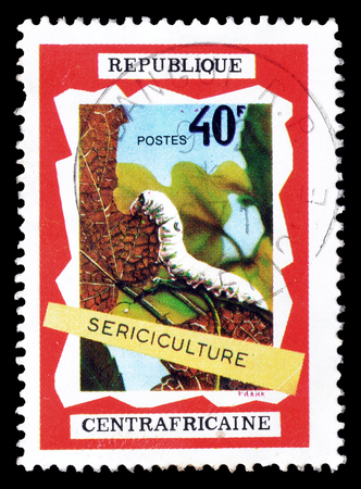 sericulture: Cancelled postage stamp printed by Central African Republic, that shows Sericulture, circa 1970. Editorial