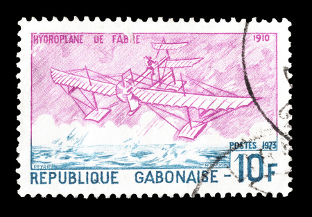 hydroplane: Cancelled postage stamp printed by Gabon, that shows Hydroplane of Fabre from 1910, circa 1973.