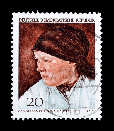 peasant: Cancelled postage stamp printed by German Democratic Republic, that shows  Peasant Woman by Wilhelm Leibl, circa 1968.